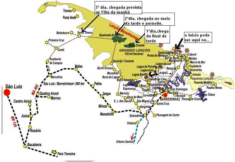 Mapa Lençois Maranhenses